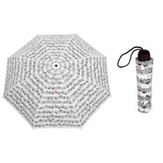 Зонтик с изображением нот - цвет белый/черный