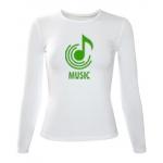 Женская футболка белая MUSIC, длинный рукав